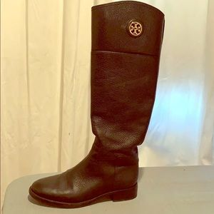 Black Leather Tory Burch Boots, size 5.5M